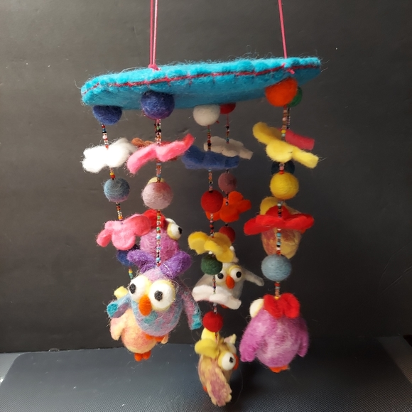 Other - Owls flowers baby mobile Handcrafted and felted